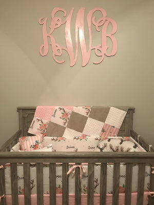 Custom Girl Crib Bedding - Dreamer antler and floral stripe, Woodland Nursery Set