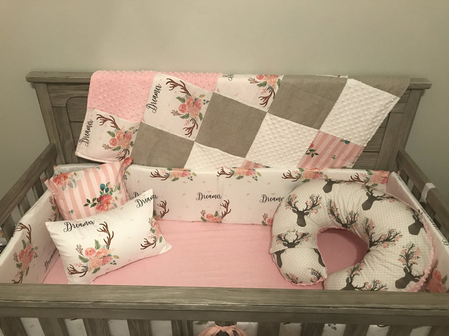 Custom Girl Crib Bedding - Dreamer antler and floral stripe, Woodland Crib Bedding