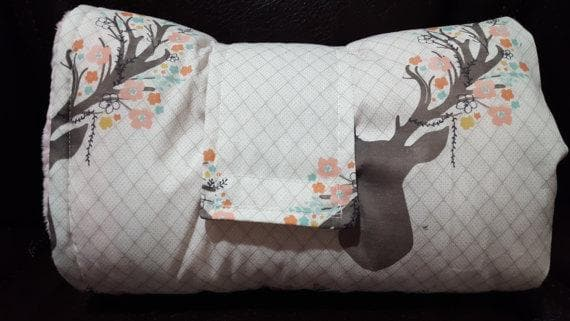 On the Go Changing Pad- Fawn -Woodland, Flowers