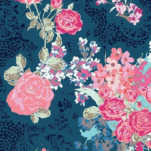 Curtain Panels or Valance - Floral in navy coral floral