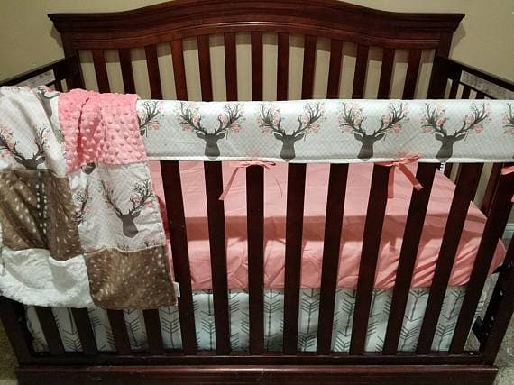 Ready to Ship Girl Crib Bedding - Tulip Fawn, Deer Skin Minky Woodland Collection