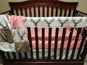 Custom Girl Crib Bedding - Tulip Fawn, Deer Skin Minky, White Tan Arrow,Coral,  Fawn Crib Bedding
