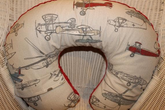 Nursing Pillow Cover - Vintage Airplane in Pewter and Minky Boppy Cover - Airplanes, Aviation