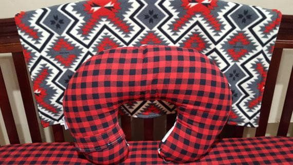 Nursing Pillow Cover Lodge Lumberjack Red Black Buffalo