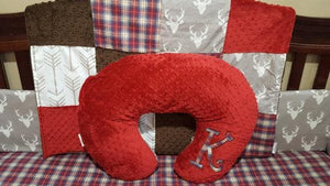 Nursing Pillow Cover -Lodge, Lumberjack Red Navy Plaid and Minky Dot Boppy Cover