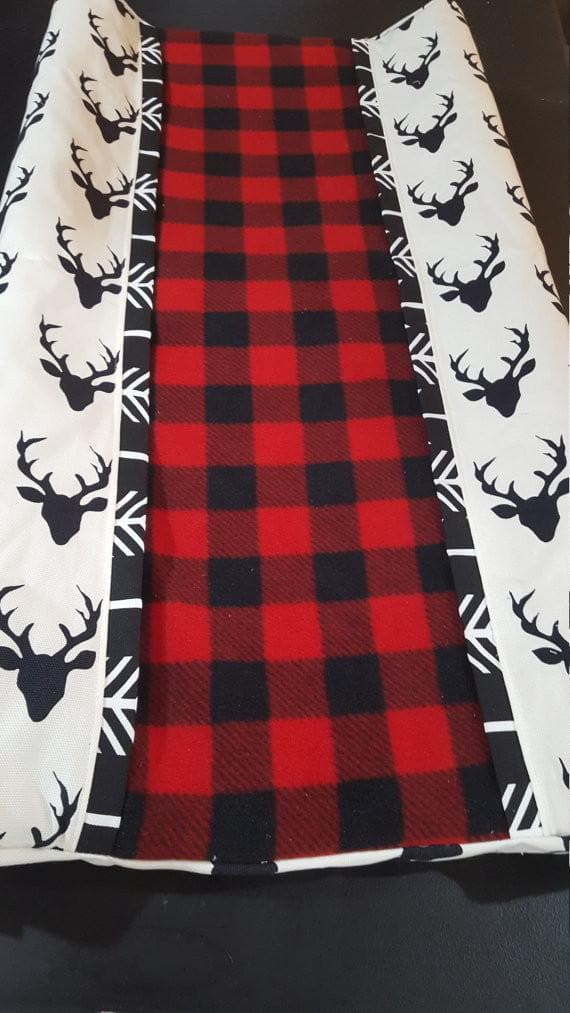 Deluxe Lodge Baby Contour Changing Pad Cover- Red Black Check Center with Black Buck sides and Black Arrow Trim