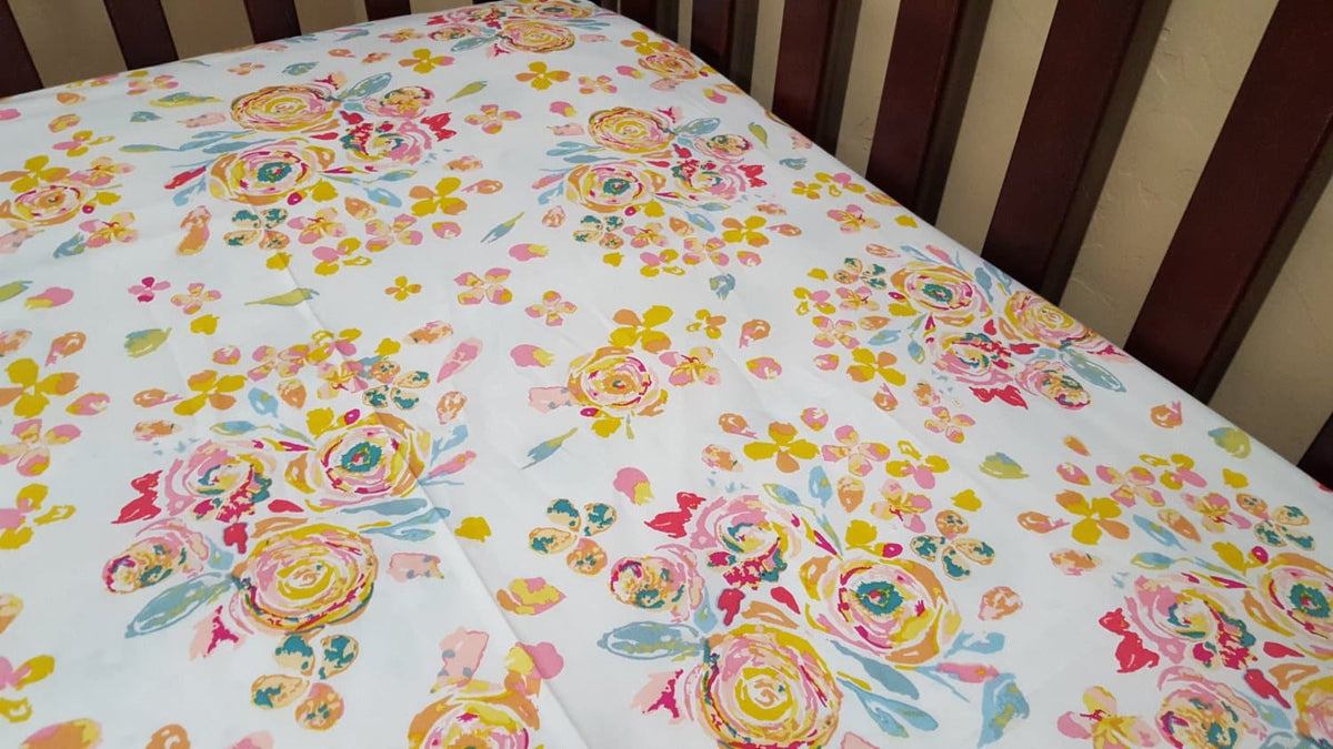 Fitted Sheet - Floral in Watercolor Roses : All Bed Sizes