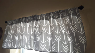 Curtain Panels or Valance - Arrow in Gray