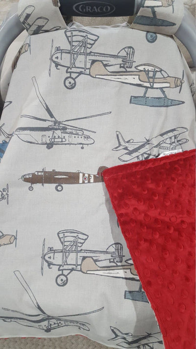 Carseat Tent - Vintage Airplane Pewter Baby Carseat Canopy