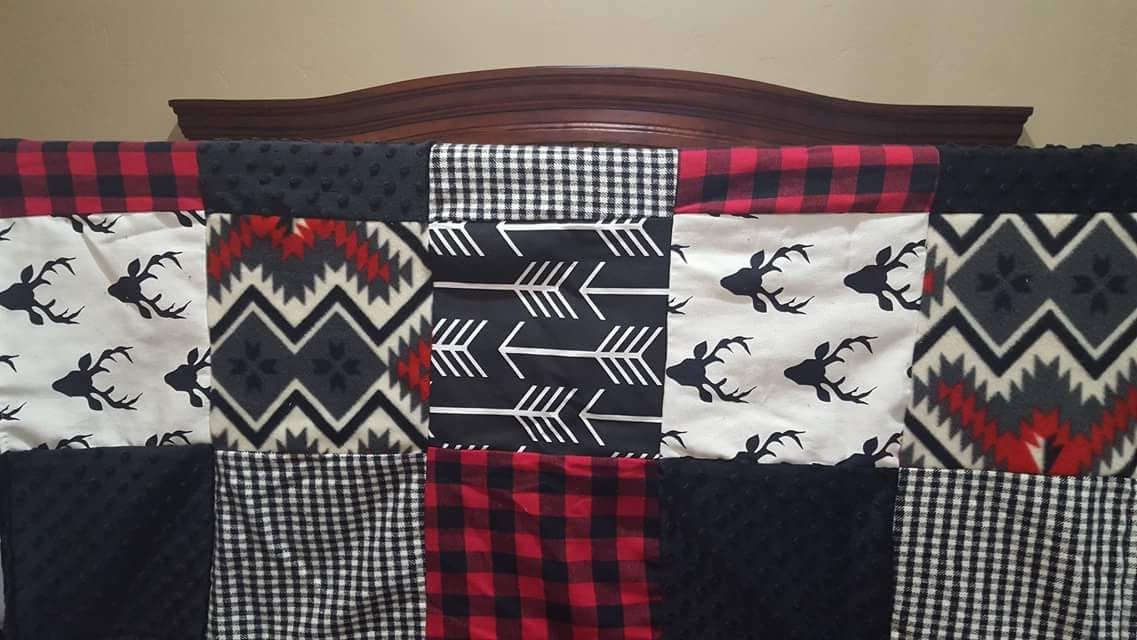 Boy Crib Bedding Buck Deer Black Arrows Red Black
