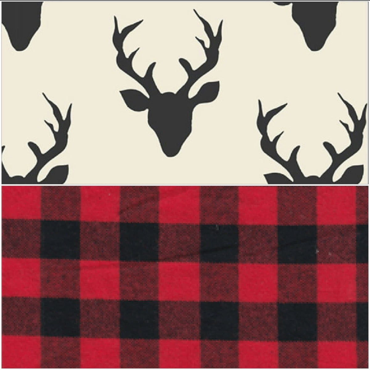 Cart Cover- Reversibe White Black Buck and Red Black Buffalo Check Highchair/Cart Cover
