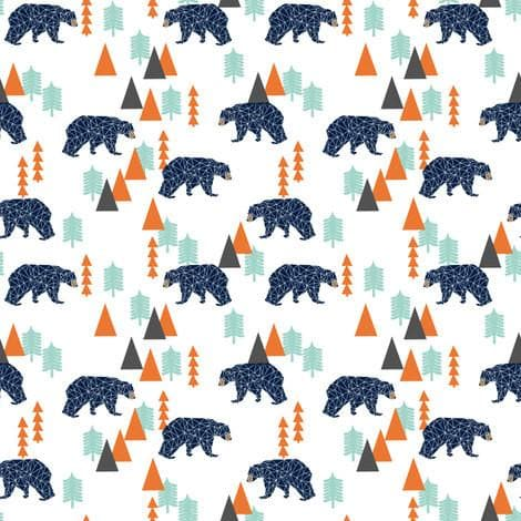 Bear Crib Sheet - Woodland, Pines, Orange, Navy