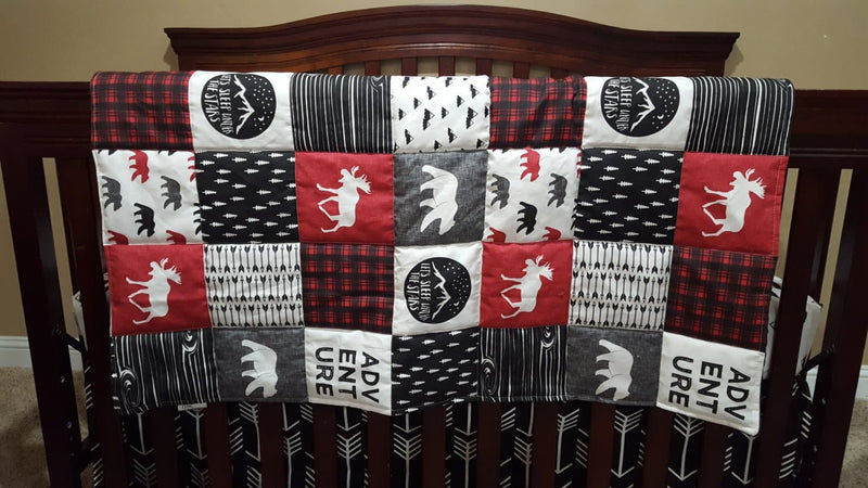 Twin, Full, or Queen Comforter -Adventure Moose Patchwork Print Comforter- Bear, Pine tree, Moose, Lodge