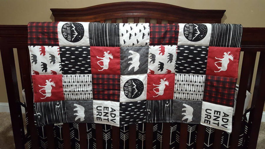 Adventure Moose Patchwork Print Blanket or Quilted Comforter- Bear, Pine tree, Moose, Lodge - Toddler, Twin, Full, Queen