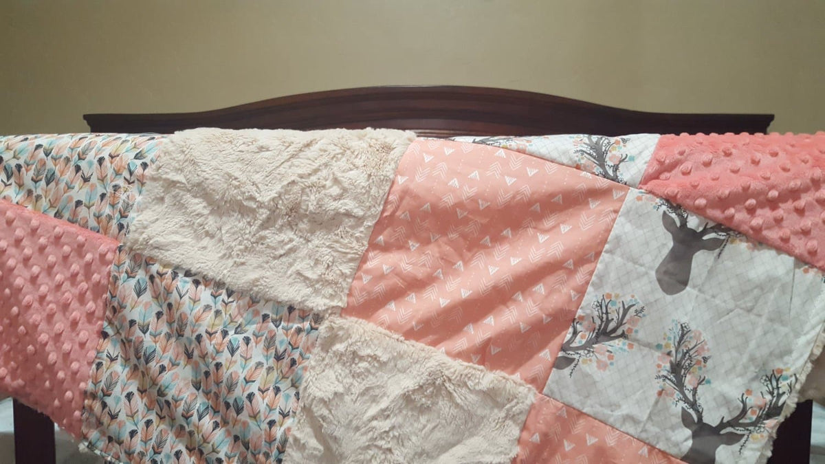 Patchwork Blanket - Deer Baby Girl Blanket - Fawn, Feathers, Tulip Weathervanes, Coral Minky, and Ivory Crushed Minky Patchwork Blanket