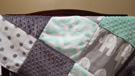 Elephant Patchwork Blanket- Mint Chevron, Gray Ele, White Gray Dot, Gray Minky, and Mint Minky Patchwork Baby Blanket
