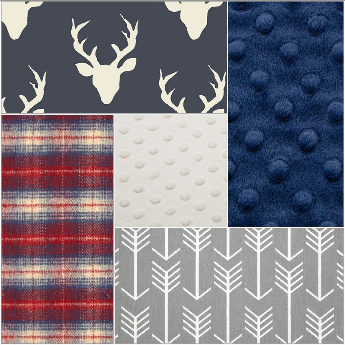 Deer Baby Blanket - Navy Buck, Red Navy Plaid, Gray Arrow, Ivory Minky, and Navy Minky Patchwork Baby Blanket