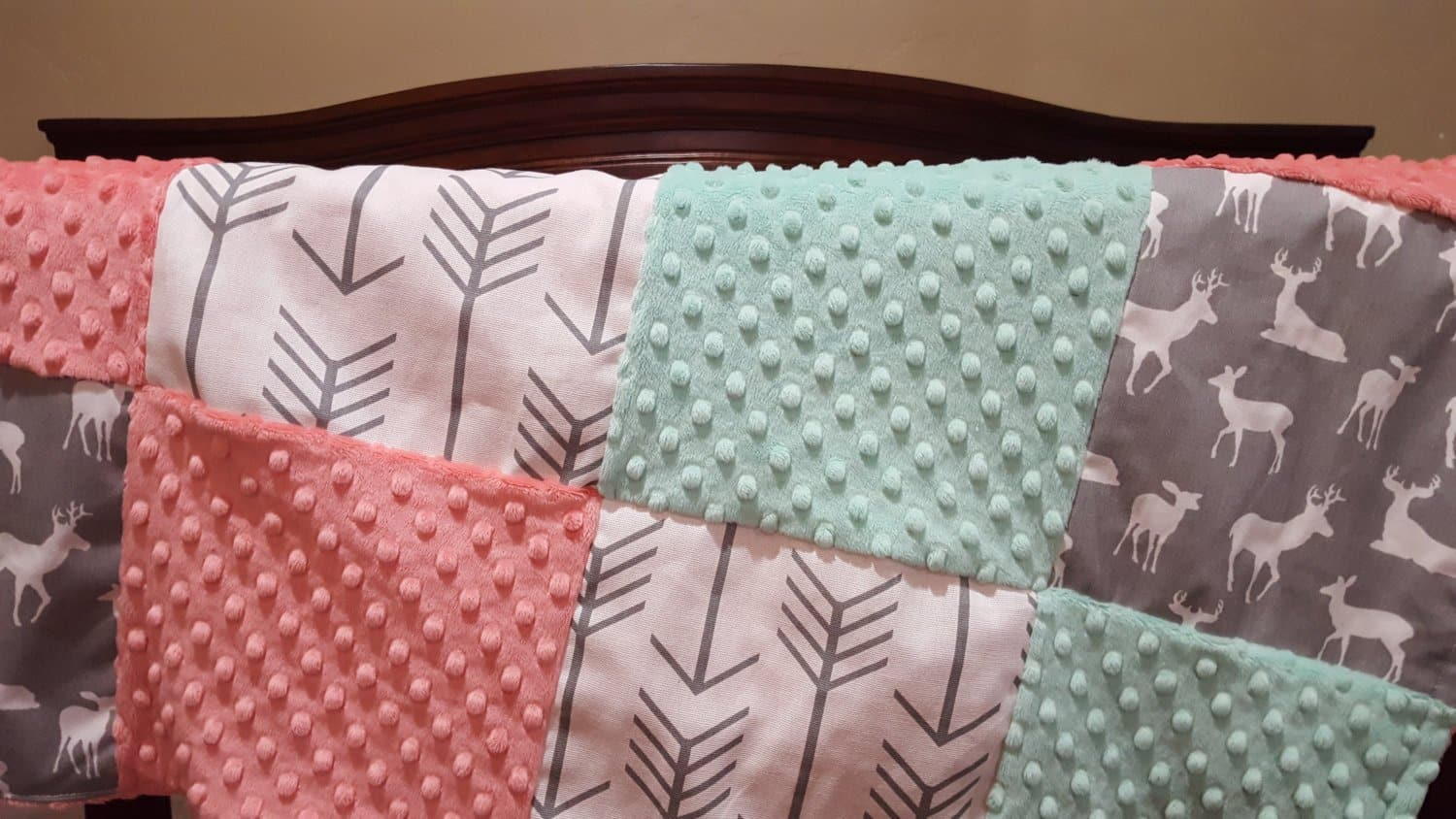 Baby Girl Crib Bedding White Gray Arrows Gray Deer
