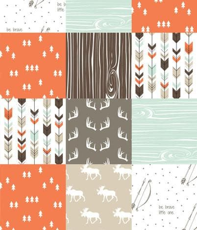 Woodland Moose Patchwork Baby Blanket or Quilted Comforter- Antlers, Be Brave, Pine tree - Toddler, Twin, Full, Queen