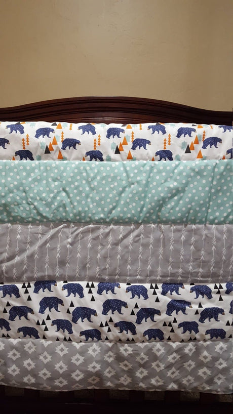 Woodland Baby Blanket or Quilted Comforter- Bear, Pine tree, Fox, Camping, Woodland