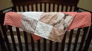 Deer Baby Girl Blanket - Fawn, Flowers, Birch Trees, Coral Minky, and White Crushed Minky Patchwork Blanket