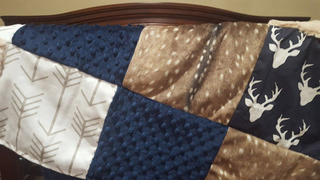 Blanket- Navy Buck, Deer Skin Minky, Navy Minky, Ivory Crushed Minky, and White Tan Arrow patchwork blanket