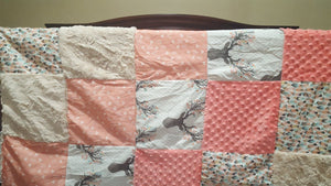 Deer Baby Girl Blanket - Fawn, Feathers, Tulip Weathervanes, Coral Minky, and Ivory Crushed Minky Patchwork Blanket