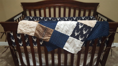 Boy Crib Bedding- Navy Buck, Deer Skin Minky, White Tan Arrow, Ivory Crushed Minky, Woodland Crib Bedding