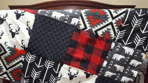 Woodland Patchwork Blanket- Black Buck, Red Buffalo Check, Black Minky, Aztec, Bears, and Black Arrow Patchwork Blanket