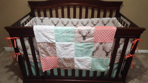 Custom Girl Crib Bedding - Tulip Fawn, Feathers, Mint Arrow, and Coral, Woodland Nursery Set
