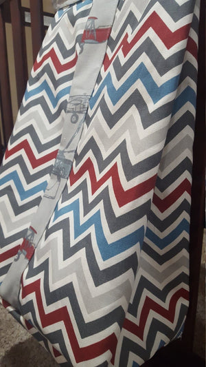 Diaper Stacker- Vintage Airplane and Pewter Chevron- Nursery, Diaper Holder
