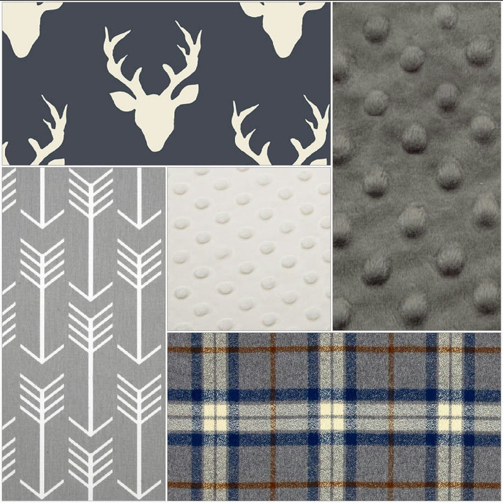 Deer Baby Blanket - Navy Buck, Gray Navy Plaid, Gray Arrow, White Minky, and Gray Minky Patchwork Baby Blanket