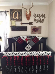 Boy Crib Bedding - Buck Deer, Black Arrows, Lodge Red Black Buffalo Check, Aztec, and Black