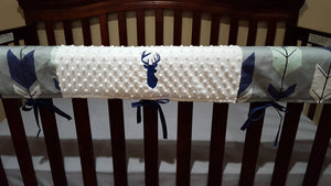 Deluxe Buck Baby Crib Rail Guard Cover with Embroidered Deer - Gray Fletching Arrow and Navy Buck