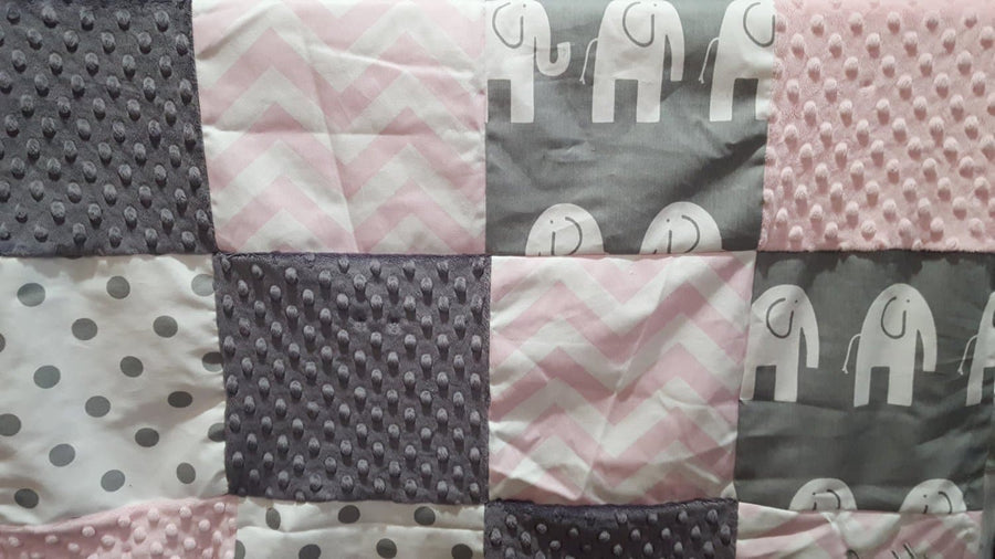 Elephant Patchwork Blanket- Light Pink Chevron, Gray Ele, White Gray Dot, Gray Minky, and Blush Minky Patchwork Baby Blanket