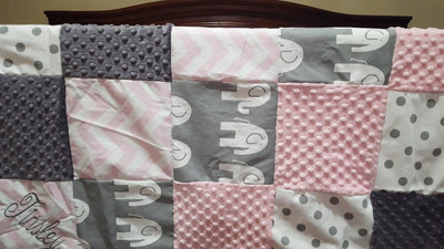 Patchwork Blanket - Elephant Patchwork Blanket- Light Pink Chevron, Gray Ele, White Gray Dot, Gray Minky, and Blush Minky Patchwork Baby Blanket