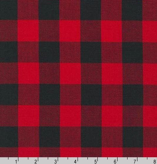 Curtain Panels or Valance - Check in Red black buffalo check