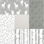 Deer Baby Blanket - Gray Fawn, White Gray Random Arrow, Birch, White Minky, and Silver Minky Patchwork Baby Blanket