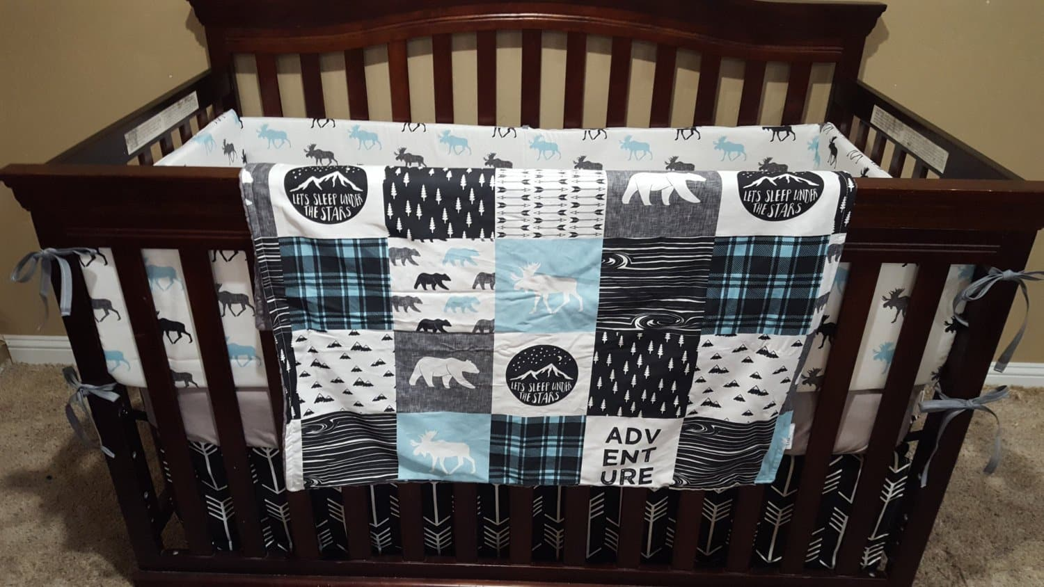 woodland moose baby boy crib bedding moose black arrows aqua and gray crib bedding ensemble - Baby Bedding For Boys