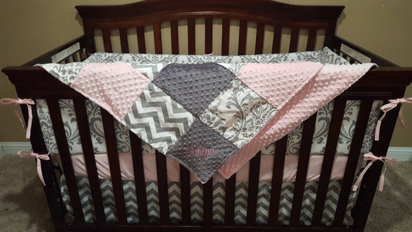 Girl Crib Bedding Light Pink Gray Chevron And White