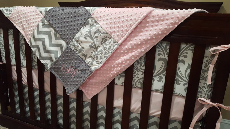 Ready to Ship Girl Crib Bedding - Light Pink ,Gray Chevron, and White Gray Damask, Pink Gray Collection