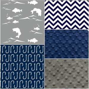 Fishing Patchwork Blanket- Fish, Navy Fish Hooks, Navy Chevron, Navy Minky, and Gray Minky Baby Blanket