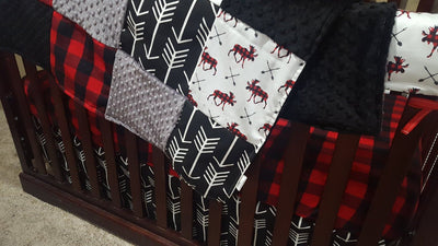 Custom Boy Crib Bedding - Moose, Bear, Black Arrow, Red Black Check, Moose Bear Crib Bedding