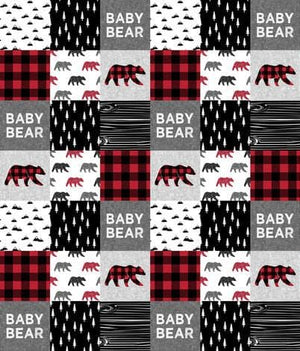 Woodland Baby Bear Patchwork Fabric Baby Blanket or Quilted Comforter- Baby Bear, Lodge, Red Black Buffalo Check - Baby, Toddler, Twin, Full, Queen