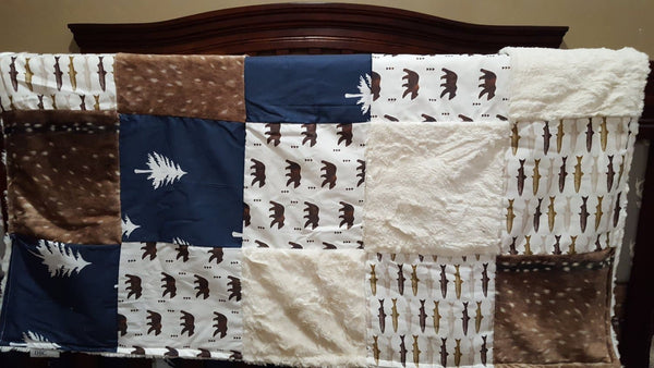 Woodland Boy Crib Bedding- Fish, Buck, Deer Skin Minky, Trees, Ivory Crushed Minky, and Navy