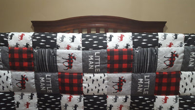 Blanket - Little Man Moose Patchwork Print Baby Blanket or Toddler Comforter