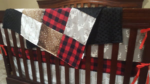 Custom Boy Crib Bedding- Gray Buck, Deer Skin Minky, White Gray Arrow, Red Black Buffalo Check, and Black Crib Bedding Ensemble