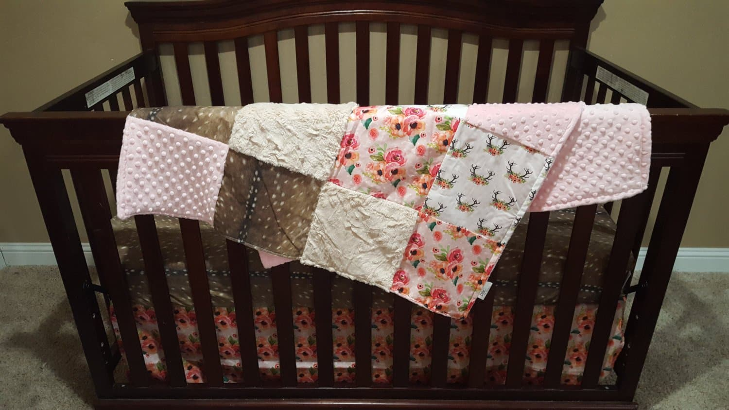 Baby Girl Crib Bedding - Floral Antlers, Deer Skin, Flowers, Ivory Crushed Minky, and Blush Crib Baby Bedding Ensemble