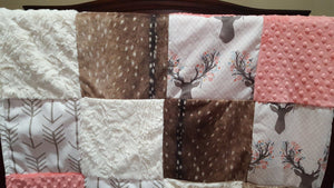 Deer Patchwork Blanket- Tulip Fawn, Deer Skin Minky, Minky, Ivory Crushed Minky, and White Tan Arrow