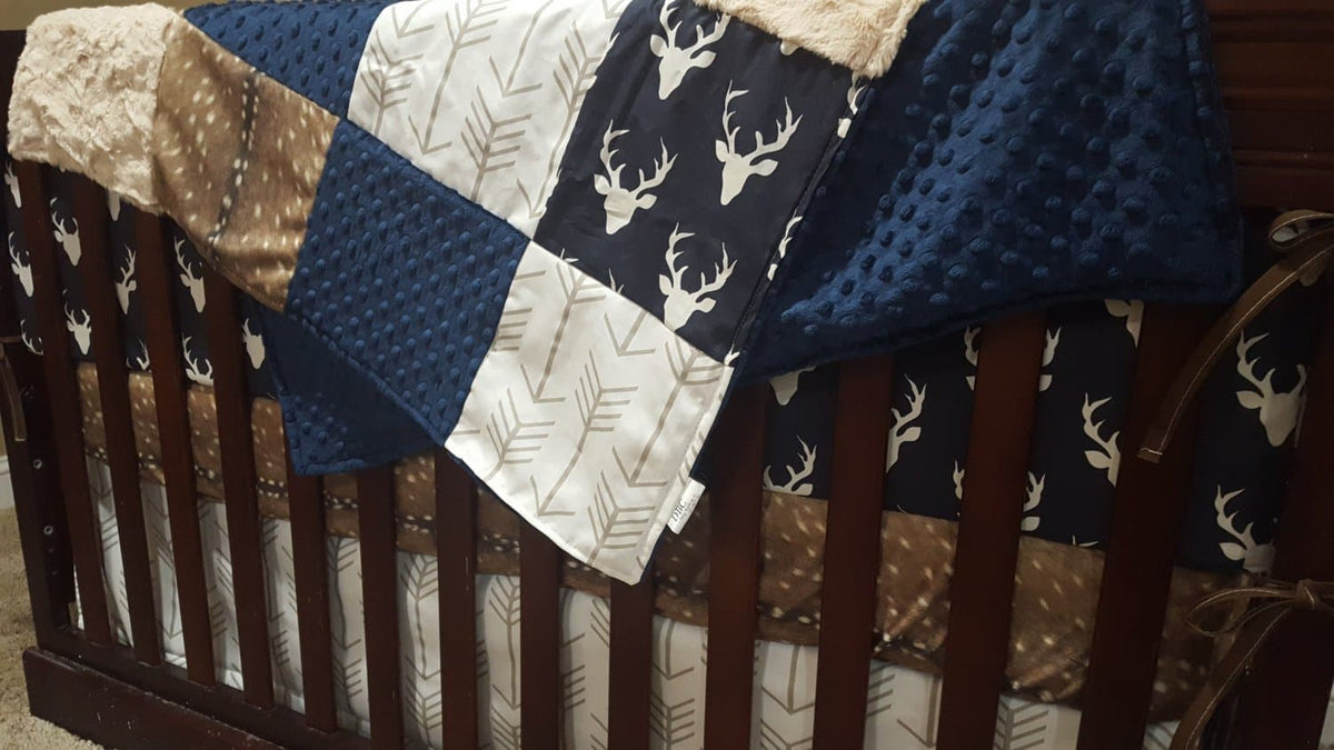 Custom Boy Crib Bedding- Navy Buck, Deer Skin Minky, White Tan Arrow, Woodland Collection